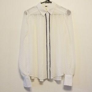 Free People sheer swiss dot blouse w/ black trim